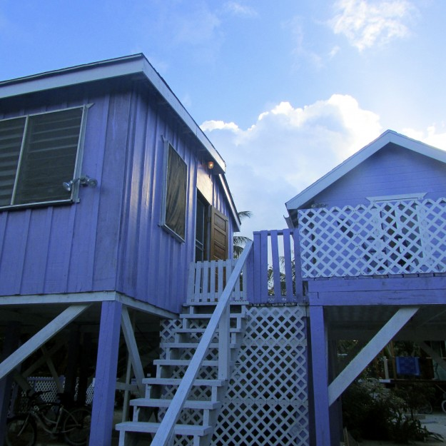 Just like the Wee Blue House.  Except purple.  And on something called stilts.