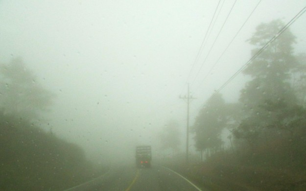 Driving through the clouds on our way down the mountain.  Scary.