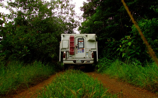 Driving into the jungle on the Nicoya. It's full of bumpy, muddy roads and rivers.