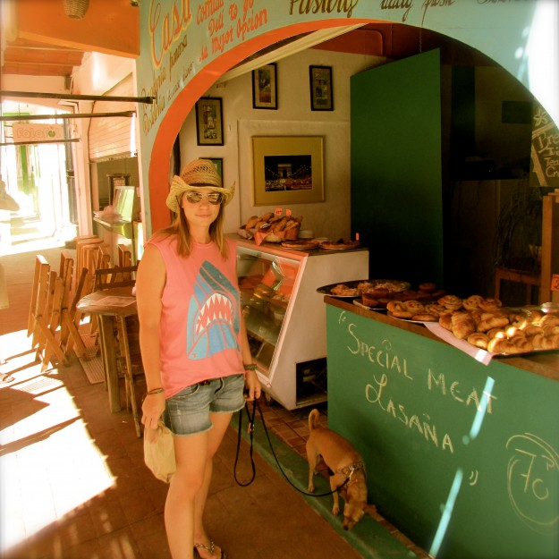 I get so many tastes of human-food on this trip! This is me and Vic shopping for croissants in Sayulita, Mexico. Yum!