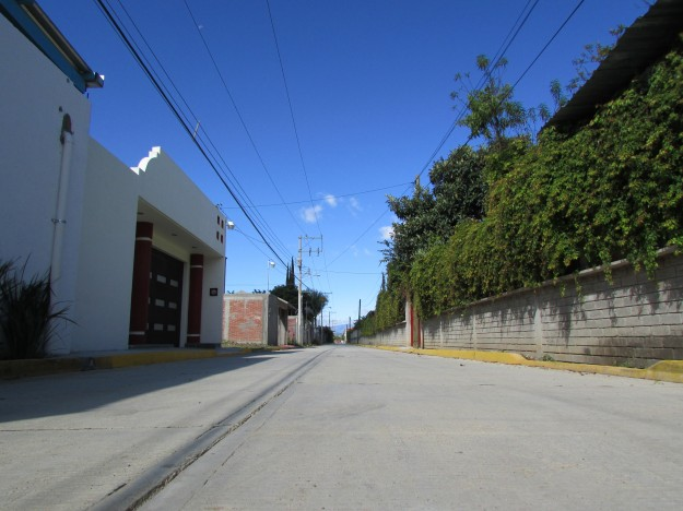 Our street in El Tule. Not many cars so it's perfect for running around on.